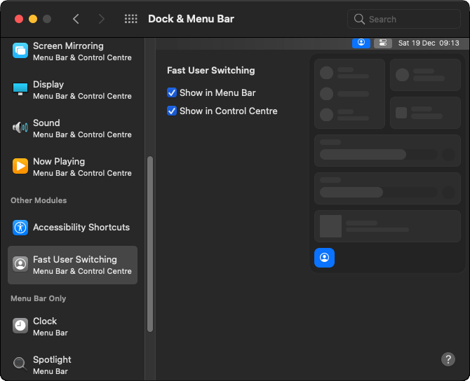 Enable Fast User Account Switching in macOS Big Sur