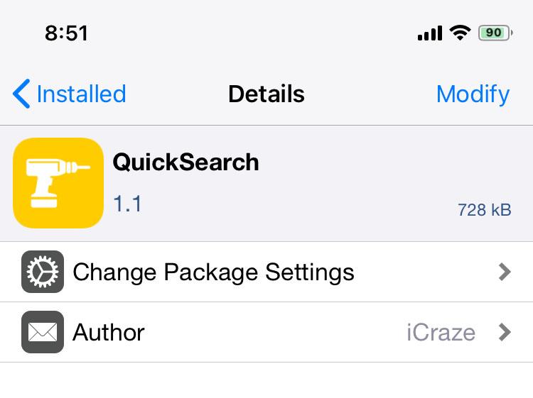 QuickSearch Cydia Jailbreak Tweak