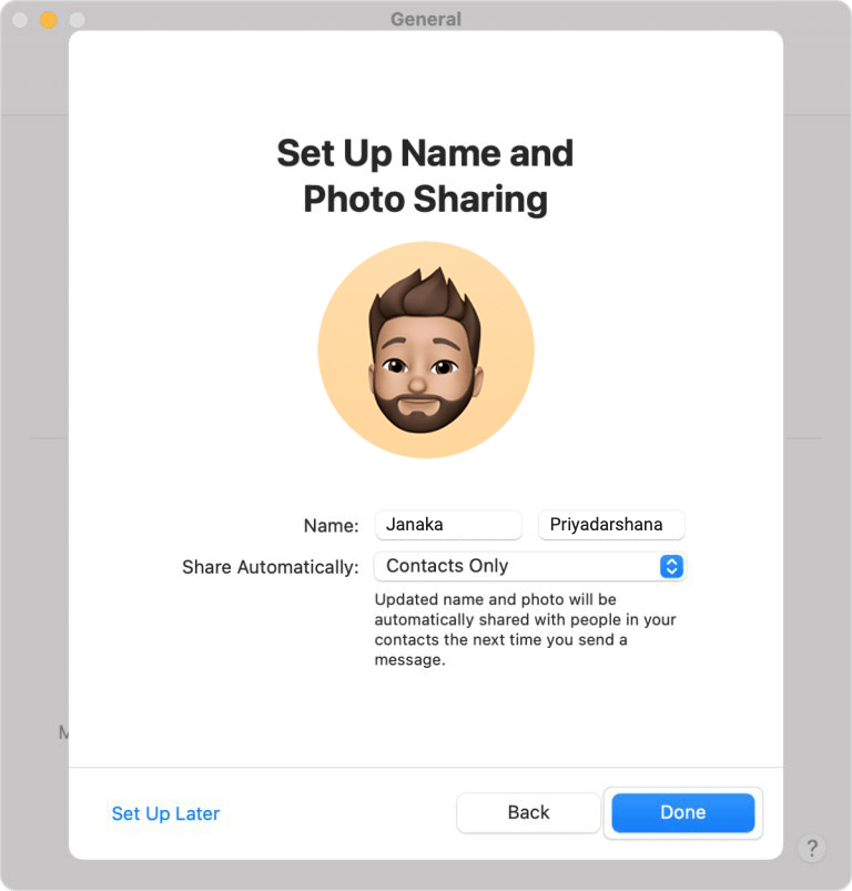 Set up Name and Photo Sharing