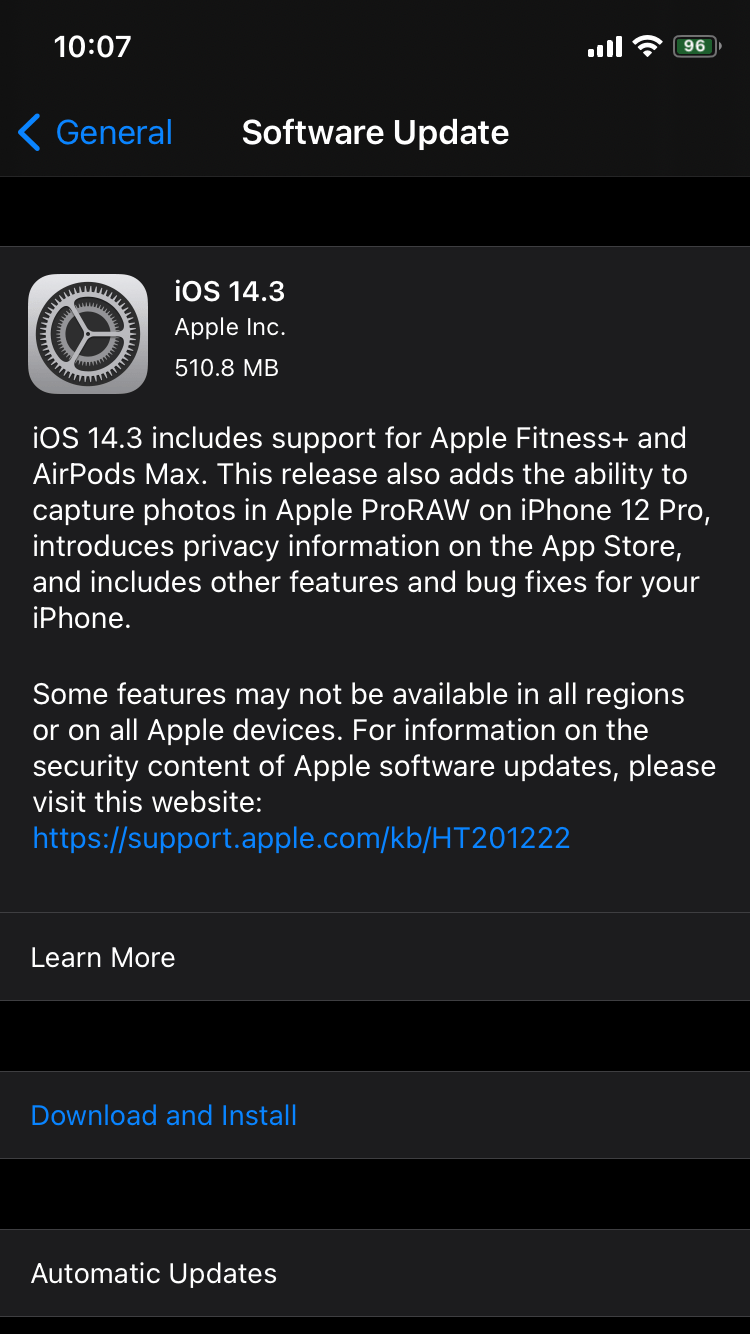 iOS 14.3 Software Update in Settings App