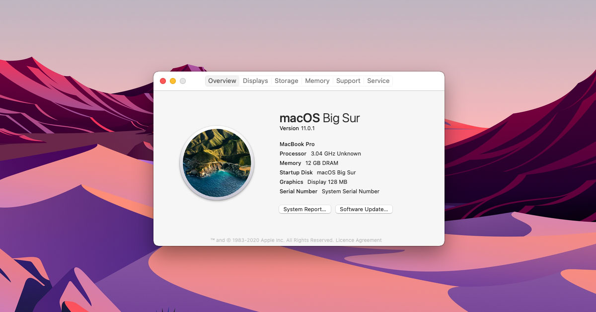 macOS Big Sur Inerface 2020