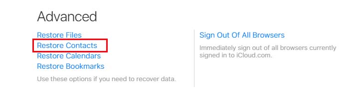 Advanced Restore Contacts iCloud