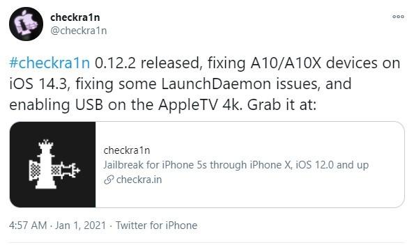 Checkra1n v0.12.2 Released