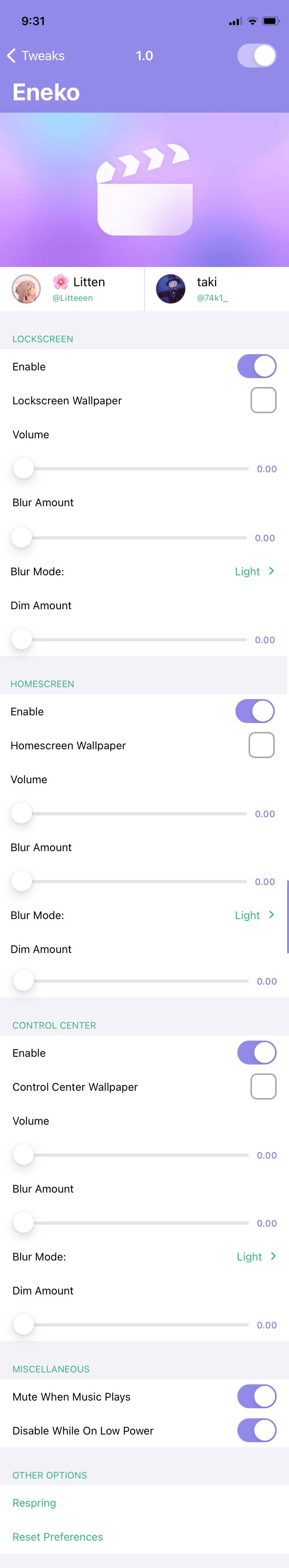 Eneko Tweak Settings