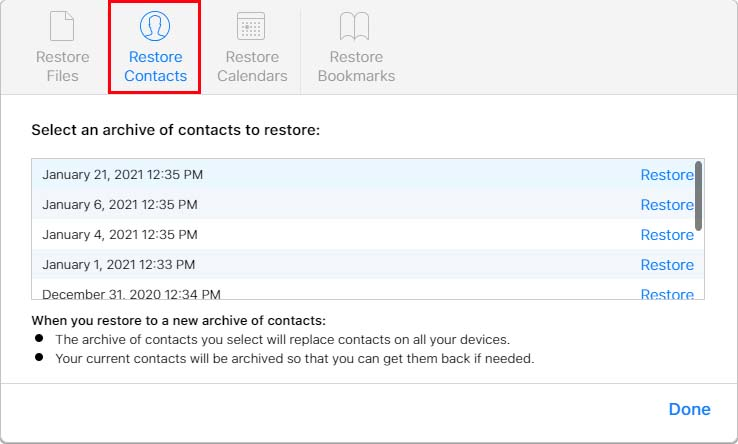 Select Archive Restore Contacts iCloud