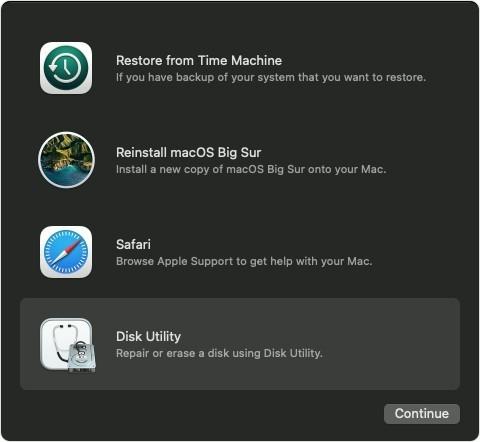 macOS Big Sur Disk Utilities Screen Step 1