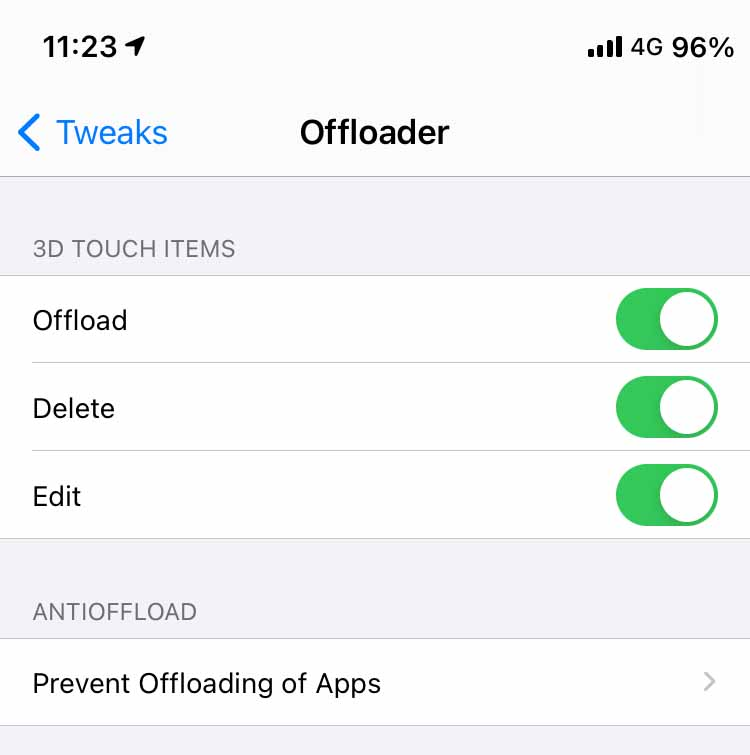 offload an app from the 3D touch menu on iPhone