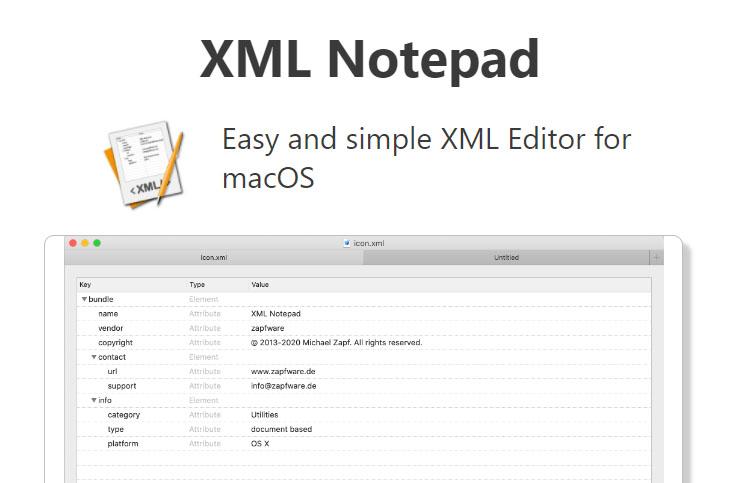 XML notepad for MAC