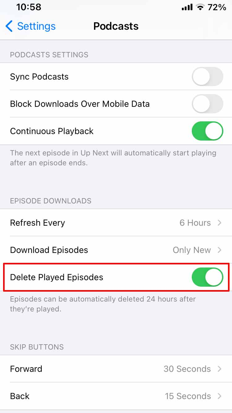 Delete played episodes in Podcasts