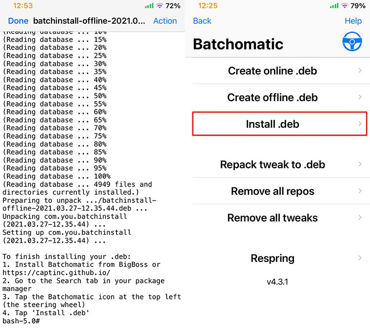 Batchomatic install backup and deb file