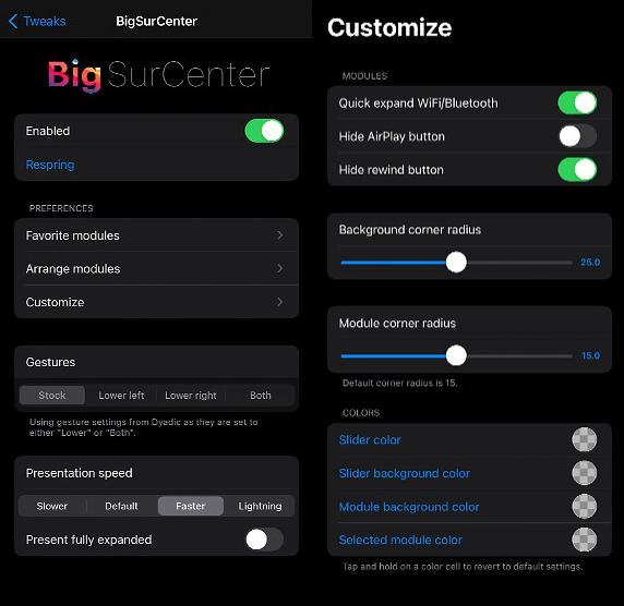 BigSurCenter Tweak Settings
