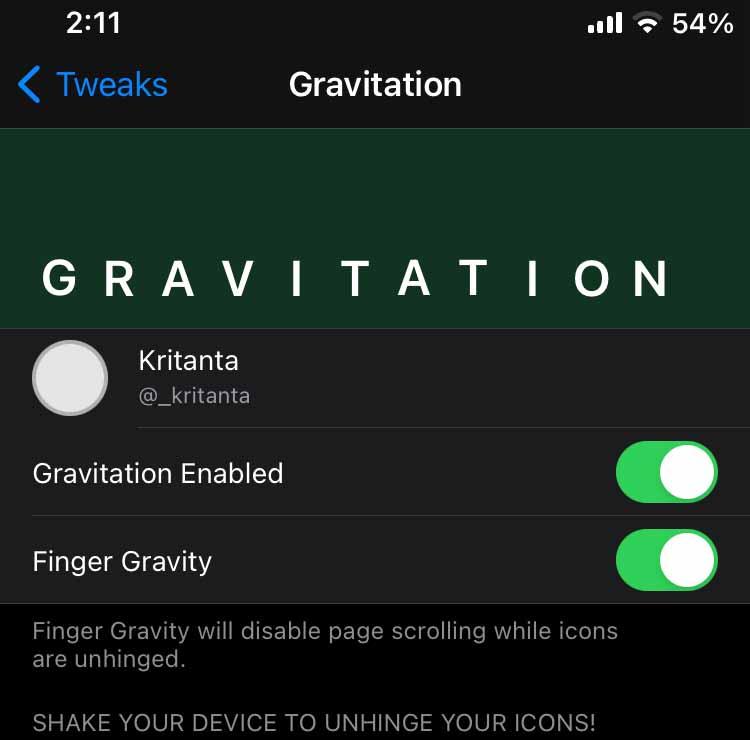 Gravitation tweak Settings