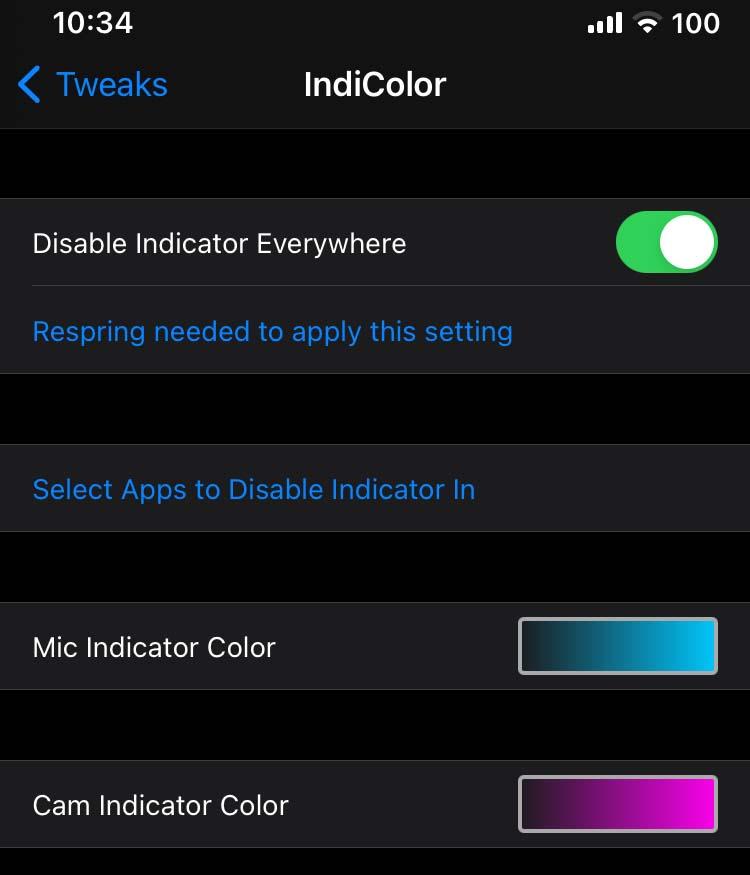 IndiColor tweak settings