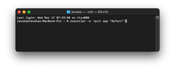 Quit safari using Terminal command 1