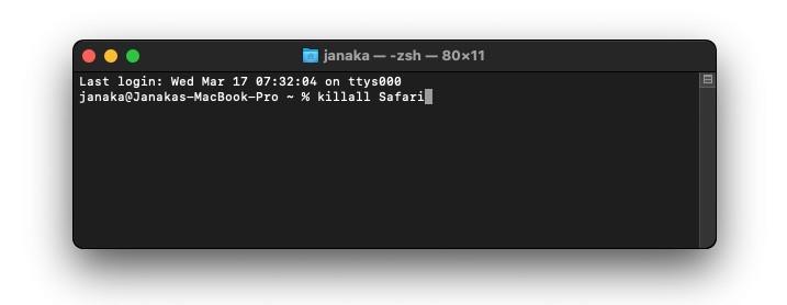 Quit safari using Terminal command 2