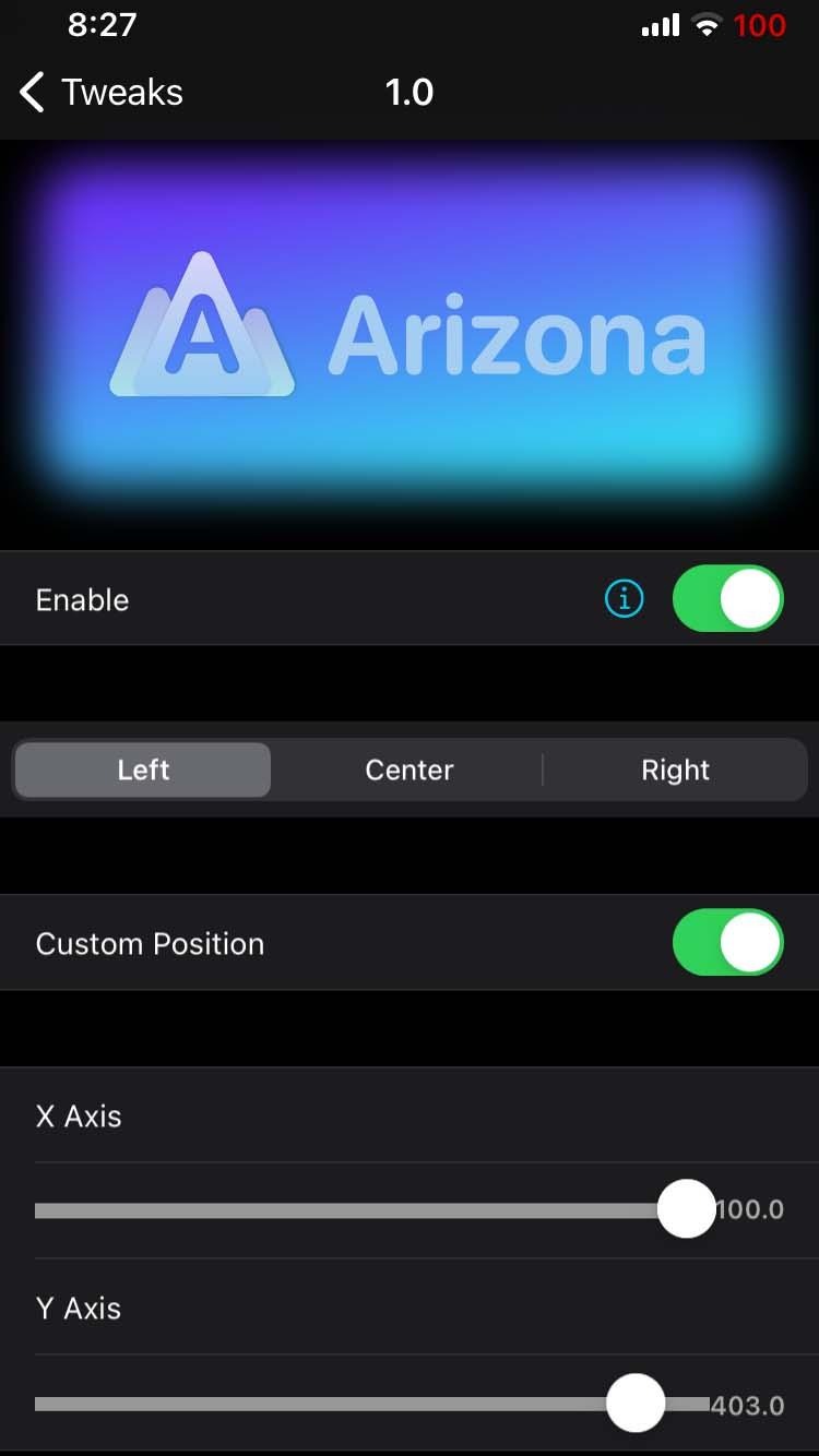 Arizona tweak settings