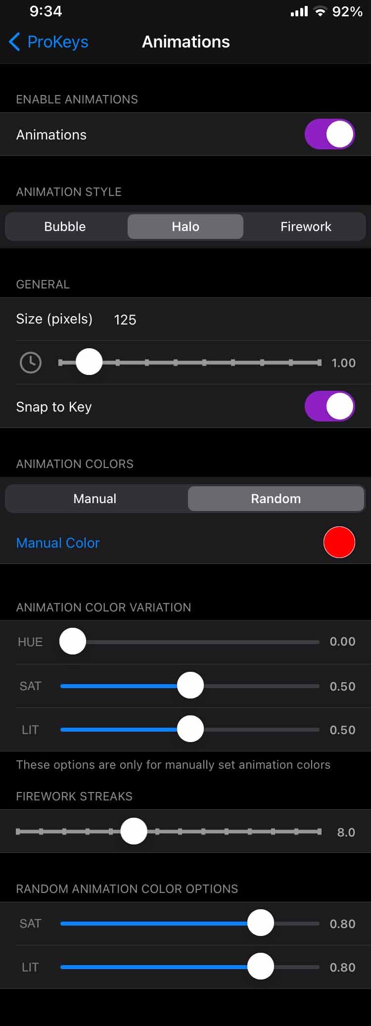 ProKeys Animation Settings