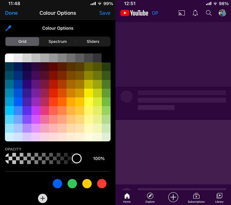 Youtube Reborn Color Options