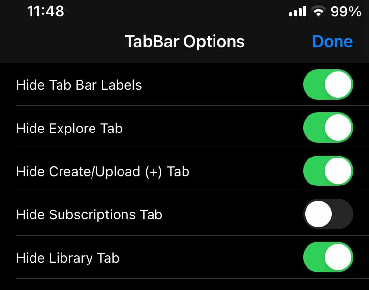 Youtube Reborn Tab Bar Options