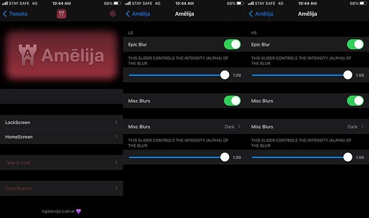 Amelija Tweak Settings for iOS 14