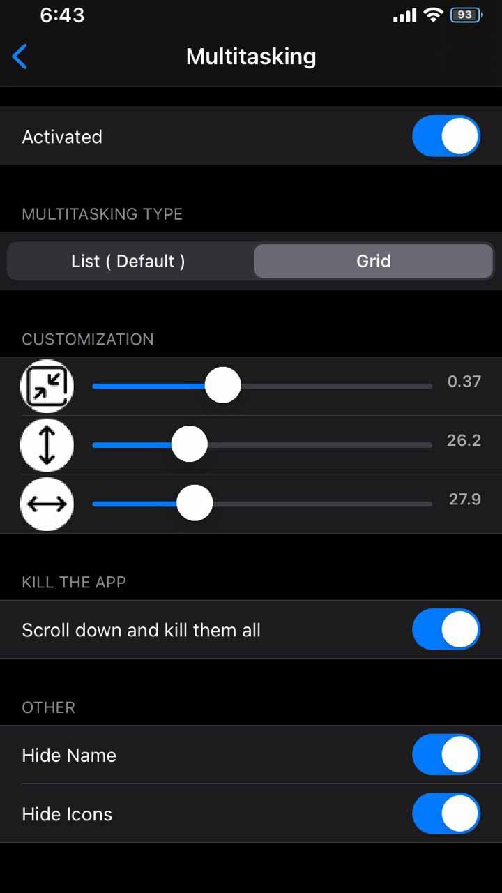 Dove tweak - Multitasking Settings