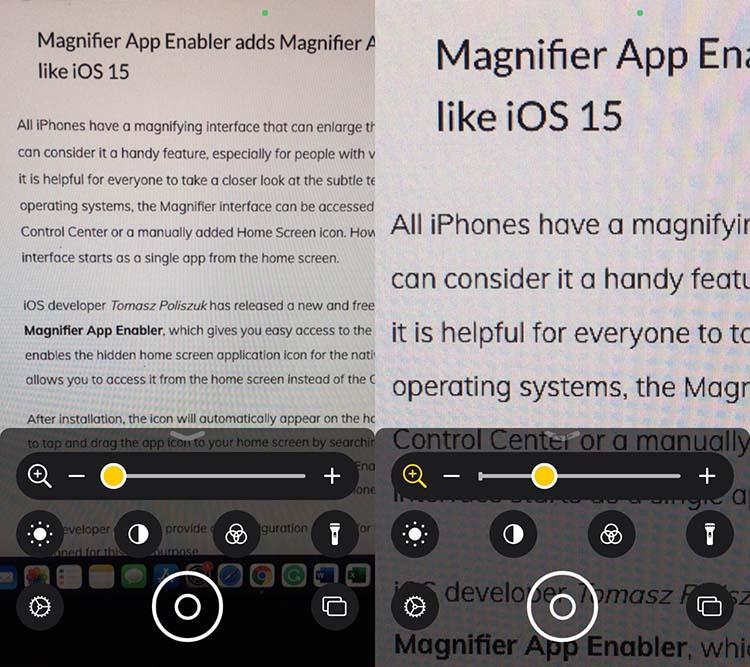 Η διεπαφή χρήστη της εφαρμογής Magnifier στο iOS 14