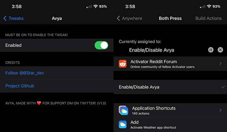 Avya Tweak and Activator Action