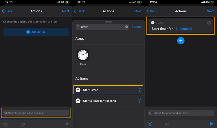 Create an action in shortcut app