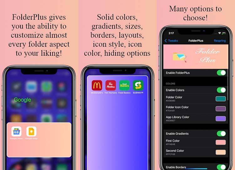 Ρυθμίσεις FolderPlus Tweak iOS 14