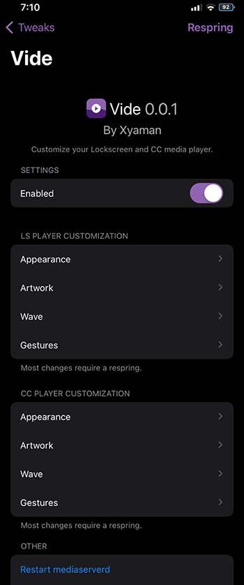 Vide Tweak για ρυθμίσεις iOS 14